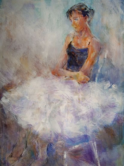 Young Ballet Dancer - Painting Commissions Example - Ballet & Dance Gallery of Art - by Sera Knight Artist - Horsell Woking Surrey England  - Girl sitting