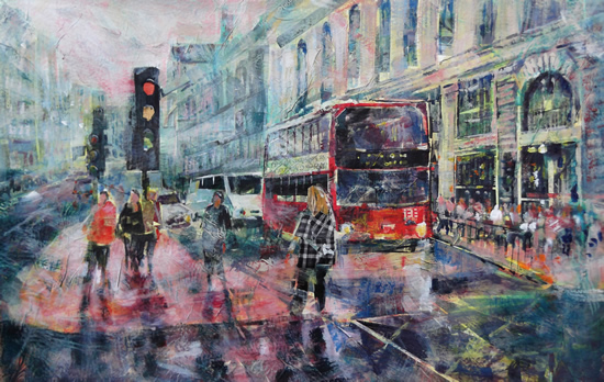 Red Bus London Street Scene With Traffic Lights - Cities & London Art Gallery
