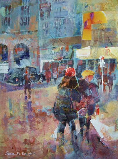 Shopping - Painting of The Purchase by Horsell Woking Surrey Artist Sera Knight