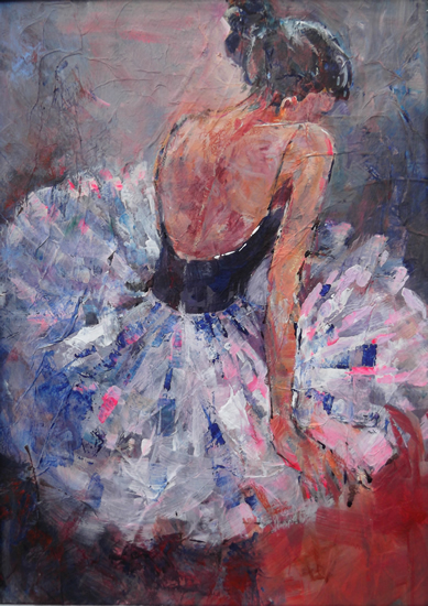 Ballerina Sitting Painting Of Resting Ballet Dancer