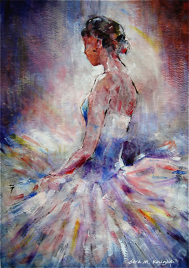 Ballet Dancer Contemplating - Ballet & Dance Gallery of Art - Paintings by Surrey Artist Sera Knight - Horsell, Woking, Surrey England
