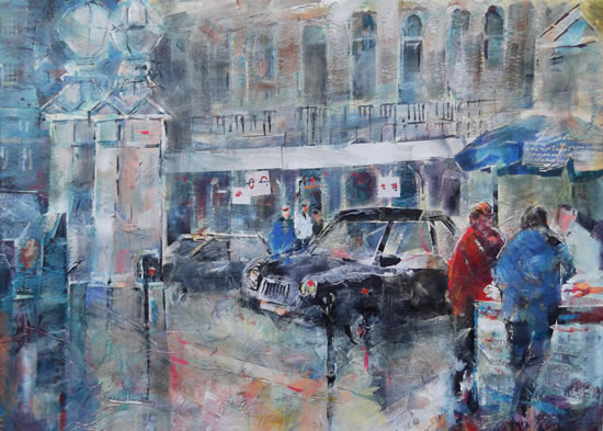 Charing Cross Rail Station London - Painting - Cities Art Gallery - Taxis