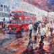 Red busses in London busy shopping street - Painting