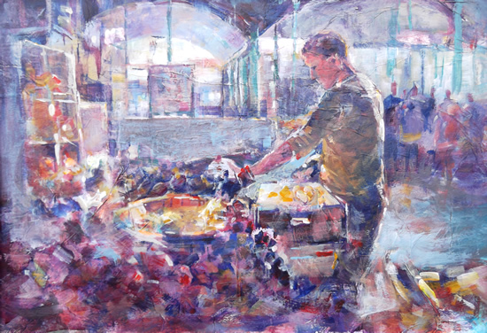 Market Stalls Painting - Surrey Art Gallery