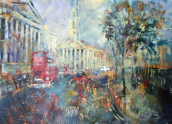 Red Bus Painting by Horsell Woking Surrey Artist Sera Knight