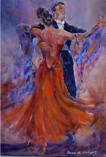 Dançarinos de salão - Galeria de Pinturas de dança por Woking Surrey Artist Sera Cavaleiro