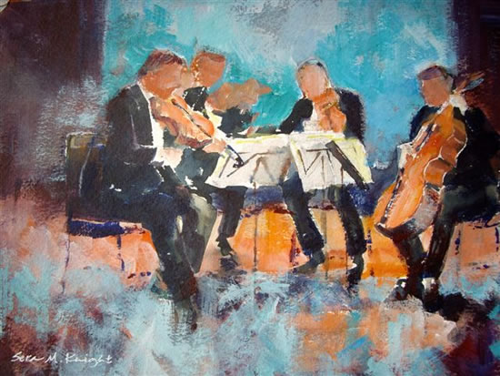Woking Art Gallery - Classical Music Collection - Classical String Quartet - Painting by Horsell Woking Surrey Artist Sera Knight